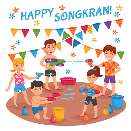 Children water fights on Songkran festival in Thailand flat vector illustration Ilustração