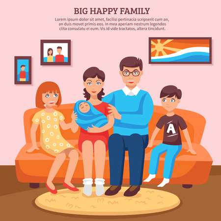 family couch: Big happy family with parents and children flat background vector illustration