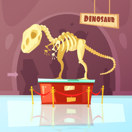 plinth: Color cartoon illustration of museum exibition about dinosaur vector illustration