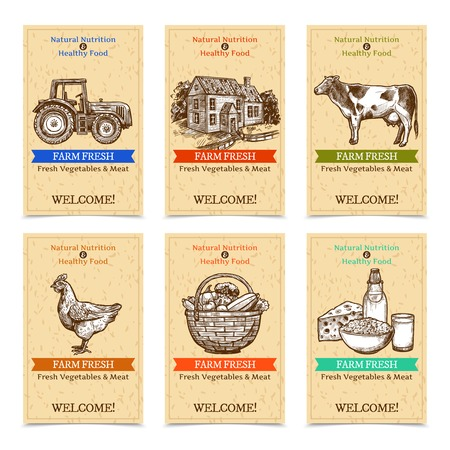 Six vertical farm tags welcome banners with healthy food farm animals tractor farmhouse with textural beige background sketch hand drawn isolated vector illustration Illustration