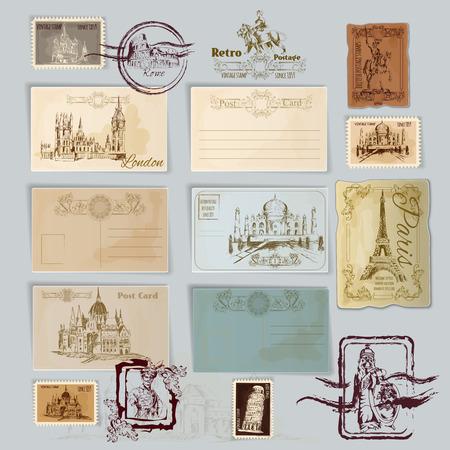 Vintage Reise Postkarten und Briefmarken Vorlage Vektor-Illustration gesetzt