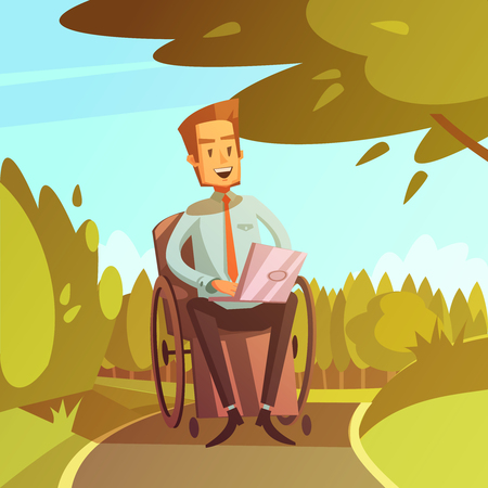 cartoon wheelchair: Color cartoon illustration depicting disabled man in wheelchair with computer vector illustration