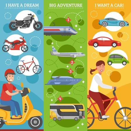 illustration journey: Transport dreams vertical banners set with people big journey and changing of vehicles isolated vector illustration