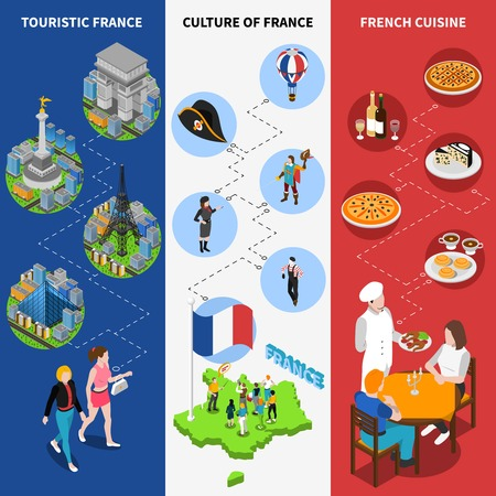 pictorial: French top tourists attractions isometric pictorial guide 3 vertical banners with national flag background poster abstract vector illustration