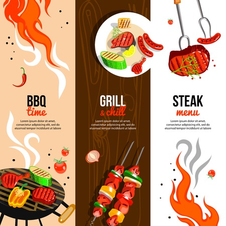grilled vegetables: Barbecue party 3 flat vertical banners set with grilled steak sausages and vegetables abstract isolated vector illustration Illustration