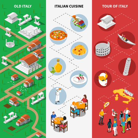 Italy tourists attractions isometric pictorial guide 3 vertical banners with national flag background poster abstract vector illustration