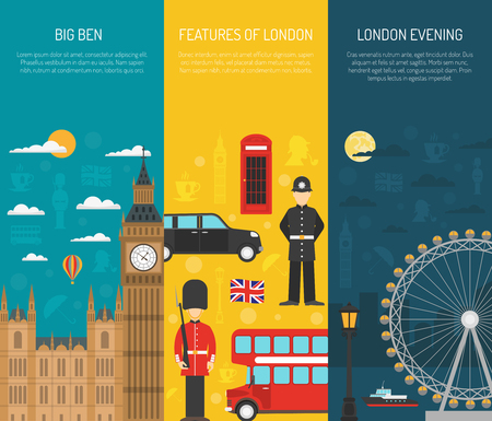 london night: London visitors sightseeing attractions with night thames river 3 vertical flat banners set abstract isolated vector illustration Illustration