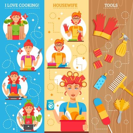 gospodarstwo domowe: Gospodyni pionowe banery zestaw kobiecych postaci w domu ubrania naczynia i narzędzia gospodarstwa domowego do czyszczenia ilustracji wektorowych
