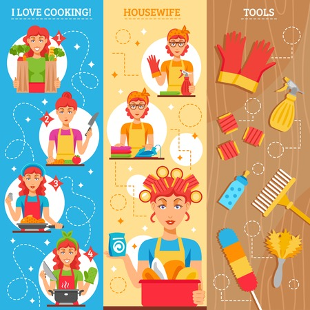 utensils: Housewife vertical banners set of female figures in home clothes household utensils and tools for cleaning vector illustration