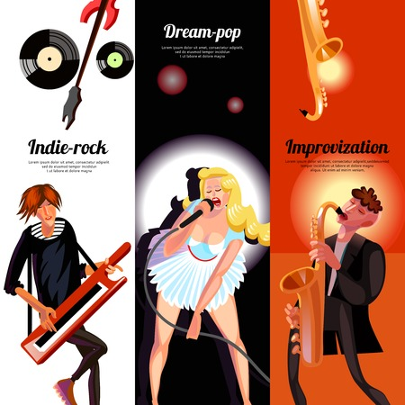 indie: Indie rock dream pop and improvisation vertical bookmarks like banners drawn in cartoon style vector illustration Illustration