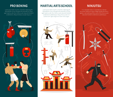 edged: Martial arts vertical banners set with ninja edged weapon chinese temple combat training boxing isolated vector illustration
