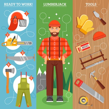 woodcutter: Work of lumberjack vertical banners set with forest  man with beard tools for cutting  isolated vector illustration