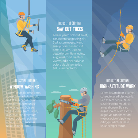 safety harness: Color information vertical flat banners showing the need  for industrial climbing window washing cut trees high-altitude work vector illustration Illustration