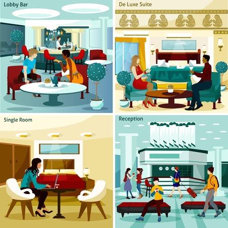 Hôtel Inter Concept. Hôtel Inter Vector Illustration. Hôtel Inter Flat Icons Set. Hôtel Inter design Set. Hôtel Inter éléments isolés.