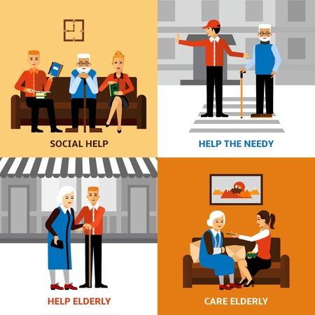 needy: Volunteers 2x2 design concept with young people helping elderly needy in medical and social care flat vector illustration