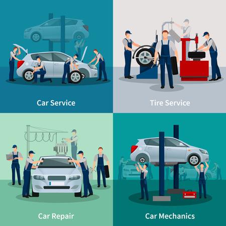 garage automobile: compositions 2x2 plates présentant processus de travail dans la voiture et des pneus services réparation automobile et la mécanique automobile illustration vectorielle