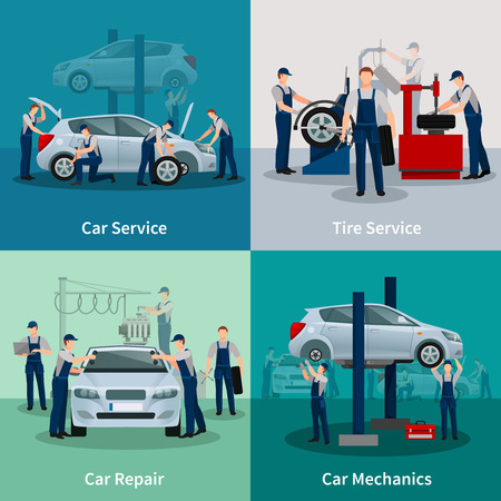 Flat 2x2 compositions presenting work process in car and tire services car repair and car mechanics vector illustration Ilustração