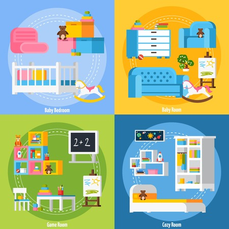 cosy: Baby room flat 2x2 design concept set of bedroom game room cosy room for children of preschool age in cartoon style vector illustration
