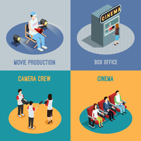 animated film: Cinema box office and movie production camera crew 4 isometric icons square poster abstract isolated vector illustration