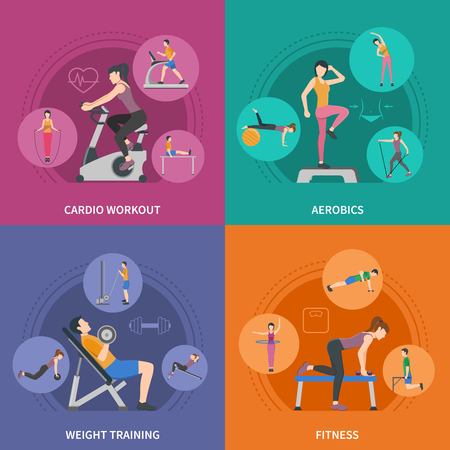 Different kinds of gym training cardio fitness aerobics and weight training 2x2 flat icons set isolated vector illustration