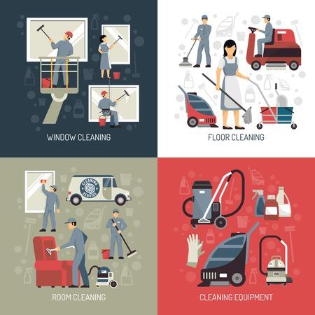 Lavadoras de janelas de limpeza industrial e equipamento de lavagem de piso 4 ícones lisos quadrados ilustração em vetor abstrato cartaz isolado