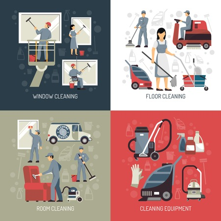 Industrial cleaning window washers and floor scrubbing equipment 4 flat icons square poster abstract isolated vector illustration