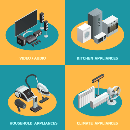 hoover: Household appliances 4 isometric icons square poster with video audio apparatus and air conditioners isolated vector illustration
