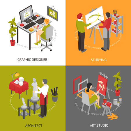 sculptor: Architect graphic designer and painters working in art studio isometric 2x2 icons set isolated vector illustration Illustration