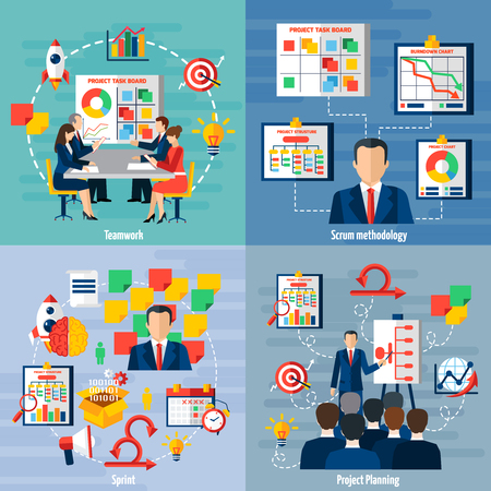 Scrum agile iterative flexible software development framework for teamwork 4 flat icons square composition abstract vector illustration
