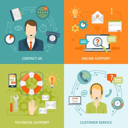offline: Contact us customer 2x2 flat icons set of online and offline support services isolated vector illustration