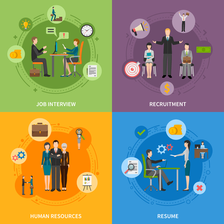 job icon: Recruitment HR people 2x2 flat icons set with job interview and resume isolated vector illustration