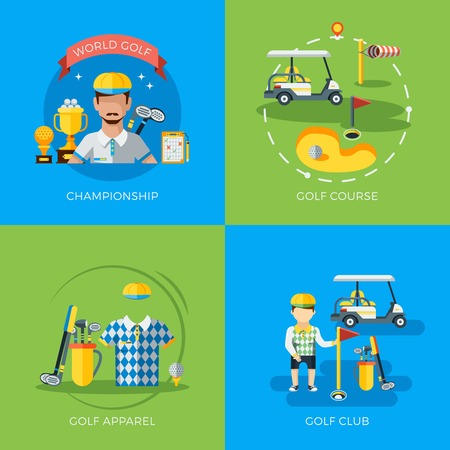 outdoor goods: World golf championship club course and apparel 2x2 flat icons isolated vector illustration Illustration