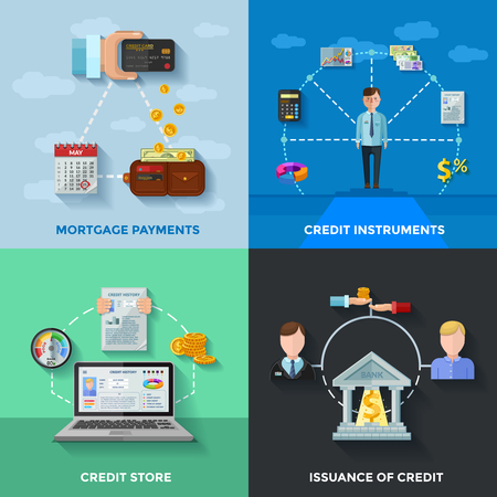 finance icons: Credit rating 2x2 design concept set of  mortgage payments credit score issuance of credit compositions flat vector illustration