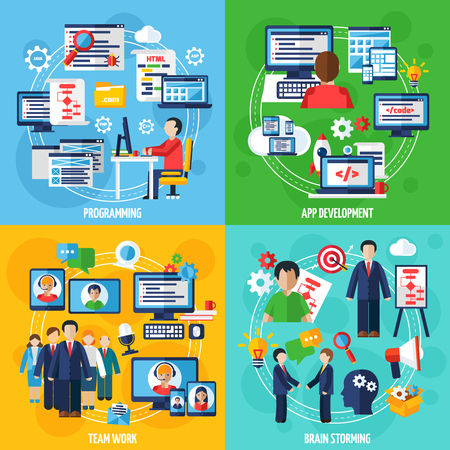 ide: Programmer 2x2 design concept set of programming app development team work and brain storming icons compositions flat vector illustration Illustration