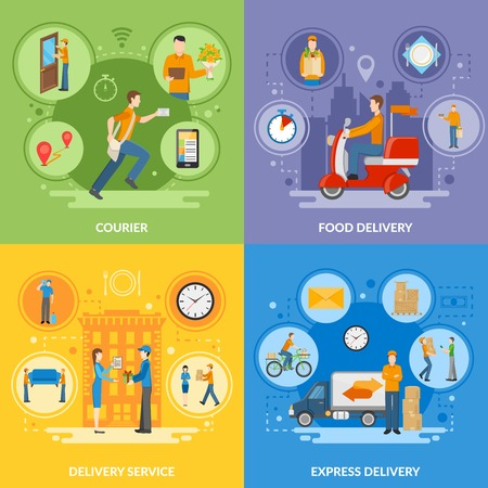delivery icon: Express delivery service and courier people delivering food and different goods 2x2 flat icons set vector illustration