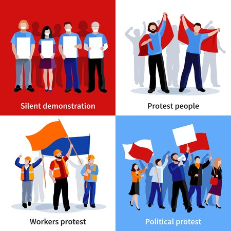 injustice: Silent demonstration and political protest people with placards megaphones and flags 2x2 icons set flat isolated vector illustration Illustration