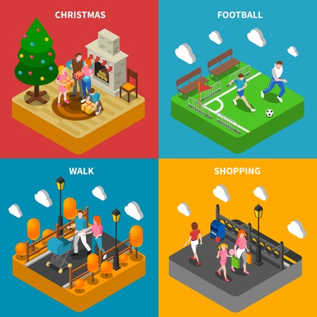 family playing: Family christmas celebration playing and shopping together 4 isometric icons square composition poster abstract isolated vector illustration