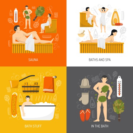 sauna: Bath sauna and mineral spa resort center concept 4 flat icons square composition poster abstract isolated vector illustration