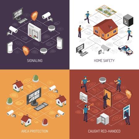 Protección del sistema de seguridad en el hogar, en el trabajo concepto 4 iconos isométricos Bandera cuadrada diseño abstracto ilustración vectorial