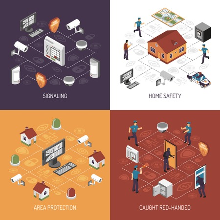 monitoreo: Protección del sistema de seguridad en el hogar, en el trabajo concepto 4 iconos isométricos Bandera cuadrada diseño abstracto ilustración vectorial