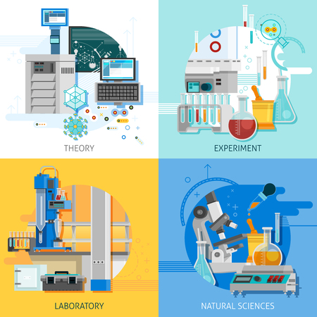 equipment experiment: Science laboratory 2x2 design concept with highly technological equipment for theoretical research and practical experiment flat vector illustration