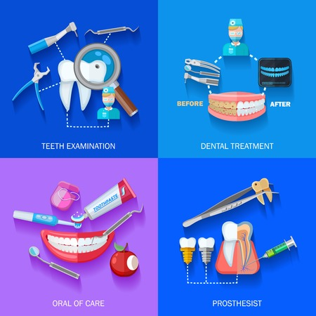 orthodontist: Flat 2x dentist icons set with teeth examination dental treatment care and prosthesis isolated vector illustration Illustration