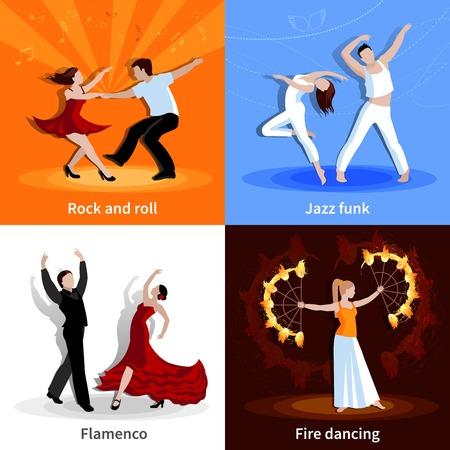 bailando flamenco: La realización de diversos estilos de baile de la gente 2x2 iconos planos establece la ilustración del vector aislado