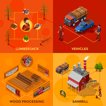 sawn: Lumberjack 2x2 isometric design concept set of wood processing and sawmill compositions woodcutter tools and vehicles for lumber transportation icons flat vector illustration