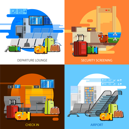 airport security: Airport interiors 2x2 flat design concept set of checkin security screening and departure lounge compositions vector illustration