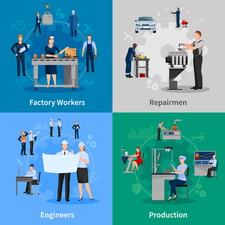 repairmen: Colorful 2x2 compositions with professionals at work presenting factory workers repairmen engineers and production flat vector illustration