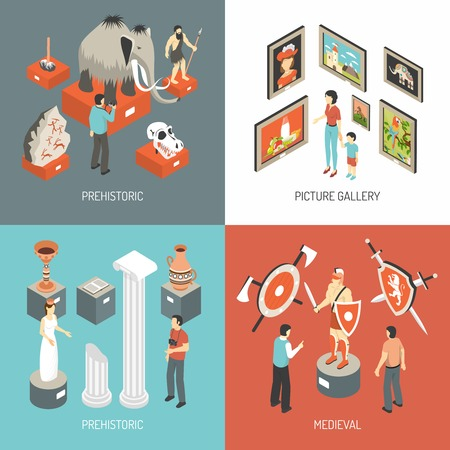 museum gallery: Historical museum medieval hall exhibits and picture gallery 4 isometric icons square banner abstract isolated vector illustration