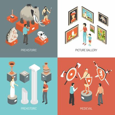 Musée historique des expositions publiques médiévales et galerie d'image 4 icônes isométrique bannière carré résumé, vecteur, isolé, illustration