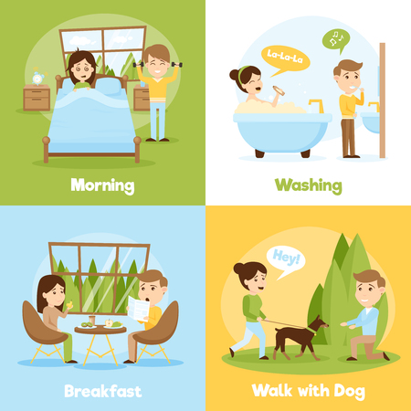 daily life: Cartoon style 2x2 compositions of people daily life presenting morning washing breakfast and walking with dog vector illustration Illustration
