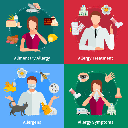 rhinitis: Allergy And Treatment Concept. Allergy Vector Illustration. Allergy Flat Icons Set. Allergy Design Set. Allergy Isolated Elements.